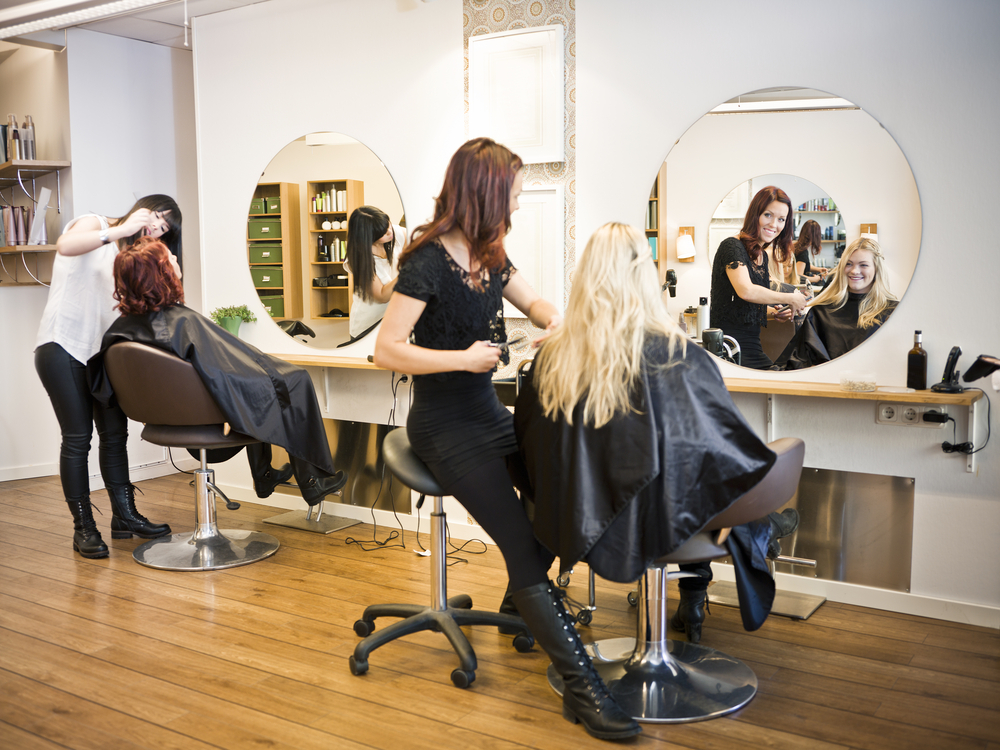 Stylists working in a salon.